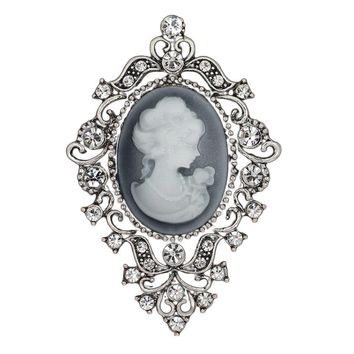Fashion Vintage Jewelry Cameo Brooch Pin Beauty Queen Crystal Rhinestone Christmas Antique Silver Brooches For Women