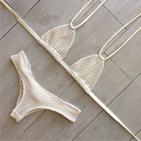 Hollow Mesh Fashion Strappy Bikini Set Swimsuit Swimwear