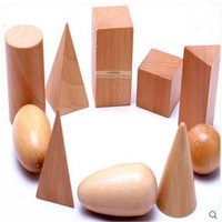 DCCKL72 Wooden  Geometric Shapes Solids Geometry Blocks Set Learning & Education Cognitive Math Toys 10pcs/set Free Shipping