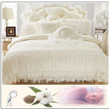 6pc. Queen Jacquard Lace Ruffles Cotton Princess Duvet Cover Bedding Set
