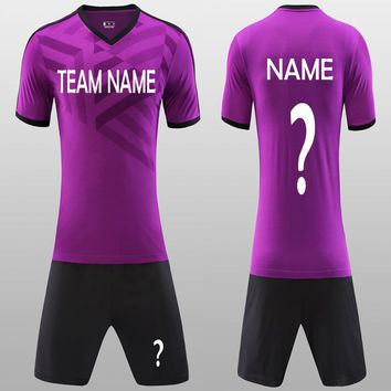 Beautiful Purple Men's Blank Soccer Jerseys Set New 18 Can Customize Football Club Adult Soccer Uniforms Kit Shirt Free Shipping