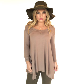 Shake It Off Jersey Blouse In Mocha