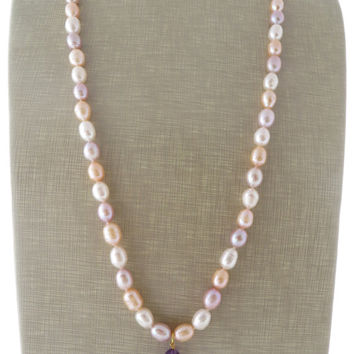 Baroque pearl necklace, pink freshwater pearl necklace, purple amethyst necklace, uk wedding jewelry, bridesmaid jewellery, italian jewels