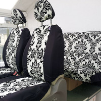 Car seat covers; front and rear covers: Off white/cream with black flock damask design, english print
