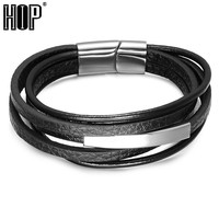 HIP Multilayer Black Genuine Leather Bracelet for Men Stainless Steel Magnet