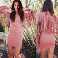Women Sexy Back Fringe Tassel Long Sleeve Dress