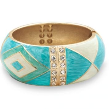 Pearlescent Turquoise Enamel Diamond Pattern  Bangle Bracelet