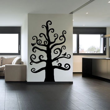 Vinyl Wall Decal Sticker Swirly Tree #OS_MB688
