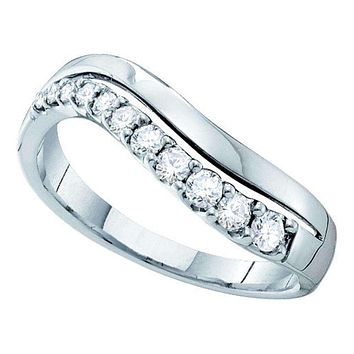 14kt White Gold Women's Round Diamond Curved Single Row Band 1/3 Cttw - FREE Shipping (US/CAN)