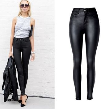 Black Faux Leather High Waist Pants