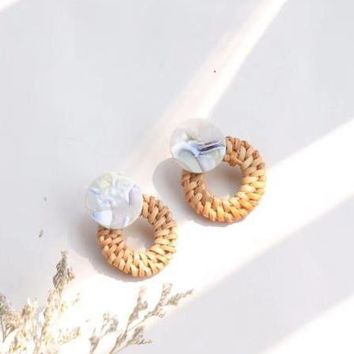 Handmade Rattan Straw Acrylic Earrings - Ice Blue
