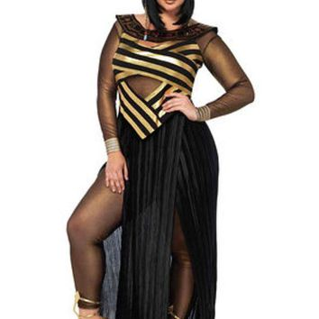 CREYI7E 3PC.Nile Queen,catsuit,cut out dress,draped head piece in BLACK/GOLD