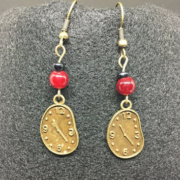 Bronze Melting Time Clock Earrings