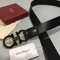 NWT Salvatore Ferragamo Black Calfskin Leather Men's Belt Double Gancio 100/40