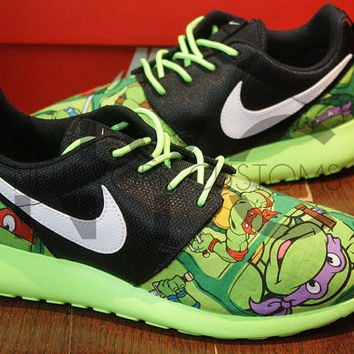 Nike Roshe Run Black Flash Lime Ninja Turtle Cartoon Print V5 Edition Custom Kids & Women