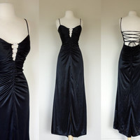 1980's black disco dress, lace up corset dress w/ rhinestone bust appliques, ruched low back bombshell maxi dress w/ spaghetti straps Small