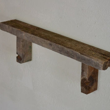 "Eco chic barn wood wall shelf  26 "" wide rustic wall decor"