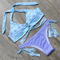 Printed Bandage Beach Bathing Suit Push Up Bikini Set