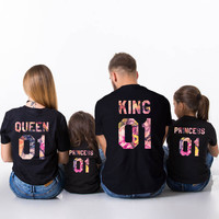 King Queen Prince Princess 01 Floral Shirts, Father Mother Daughter Son Floral Matching Shirts, King and Queen fleur shirts, UNISEX