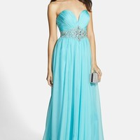 Women's Alyce Paris Embellished Ruched Strapless Chiffon Gown