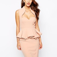 Forever Unique Structured Peplum Pencil Dress with Sweetheart Neck