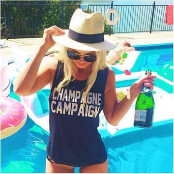 """Champagne Campaign"" Letter Print Sleeveless T-Shirt"