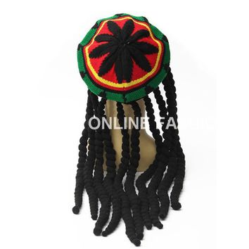 Hot Sales Rasta Hat Beanies Knitted Hats Beret Crochet Slouchy Tam Bob Marley Reggae Jamaica Style With Dreadlocks Wigs Unisex