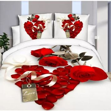 Wedding Decoration 3D Bedding Sets Leopard Grain Rose Flower Queen 4 Pcs Duvet Cover Bed Sheet Pillowcase Bedclothes