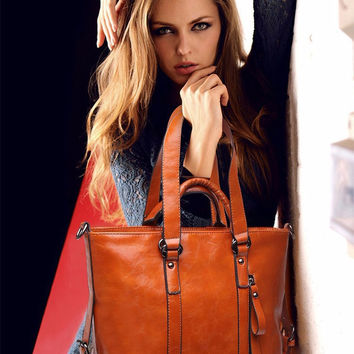 Genuine Leather Tote Messenger Bag