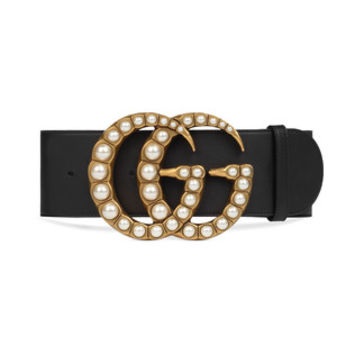 Gucci Wide leather belt with pearl Double G