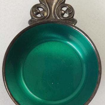 Silverplated Enamel Porringer Bowl, Vintage Wm A Rogers, Emerald Green