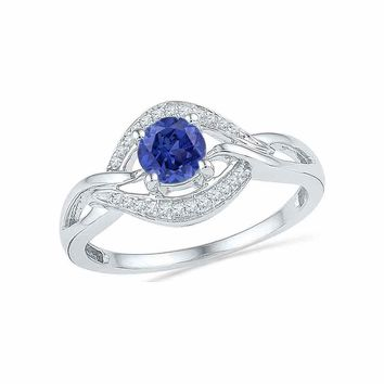 10kt White Gold Womens Round Lab-Created Blue Sapphire Solitaire Woven Ring 5/8 Cttw