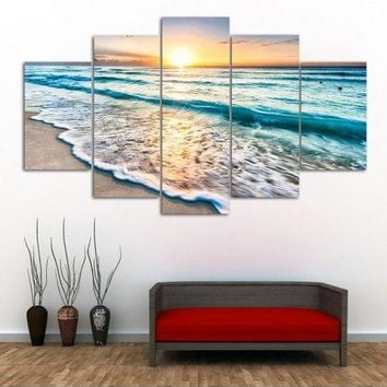 Elegant Sunset Beach Print Split Canvas Wall Art Paintings
