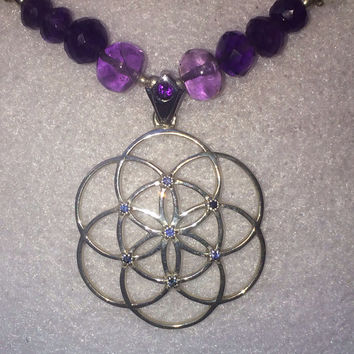 Sacred Geometry Seed of Life Pendant with Blue Sapphires on Beaded Rainbow Moonstone and Amethyst Necklace