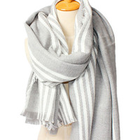 White/Gray Stripes Blanket Scarf