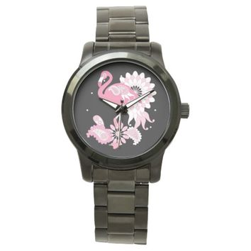 Cute and Whimsical Paisley Pink Flamingo Black Watches