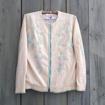 Vintage sweater | Ivory beaded cardigan
