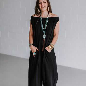 Vita Off The Shoulder Wide Leg Romper - Black