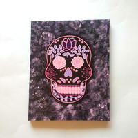 Sugar skull -purple and pink- fashionable acrylic canvas painting for trendy girls room or home decor