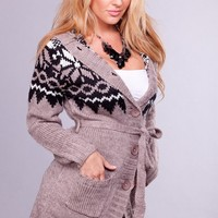 Taupe Cable Knit Aztec Print Sweater with Button Up Front