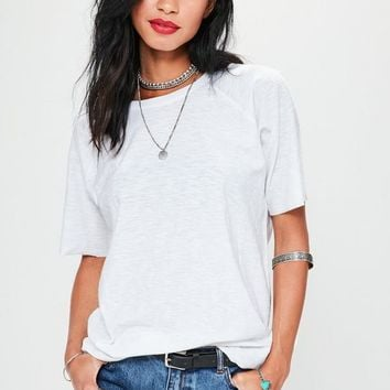 Missguided - White Slub Oversized T-Shirt