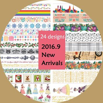 New 24Designs Flower/Girl/Christmas/Rainbow/Bird Pattern Japanese Washi Decorative Adhesive DIY Masking Paper Tape Sticker Label