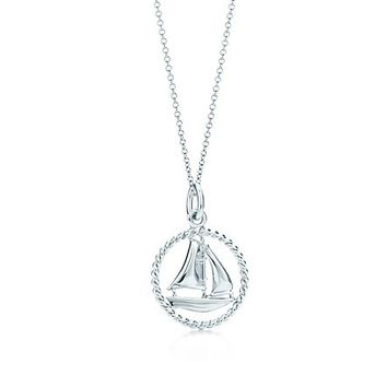 Tiffany & Co. -  Tiffany Twist sailboat charm in sterling silver on a chain, small.