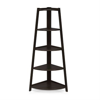 Modern 5-Tier Espresso Wood Ladder Style Bookcase Display Shelf