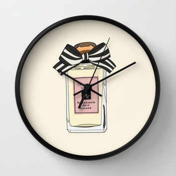 Your favorite perfume art print Wall Clock by 23madisonstudio
