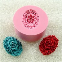Victorian Cabochon Mold Flexible Silicone Mould Resin Rose Mold Polymer Clay Mold Pmc Utee  (123)