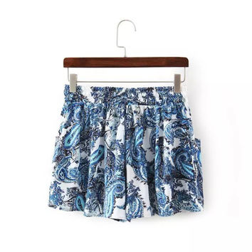 Women's Fashion Vintage Totem Palace Print Casual Pants Shorts [4918017412]