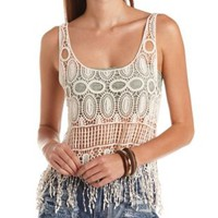 Crochet Swing Fringe Crop Top by Charlotte Russe