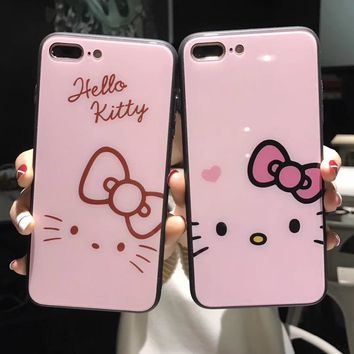 For iPhone XS Max XR X Hello Kitty Cat Kitten Tempered Glass PC Case For iPhone 8 6 6S 7 Plus