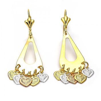 Gold Layered 02.32.0196 Chandelier Earring, Heart and Teardrop Design, Diamond Cutting Finish, Tri Tone